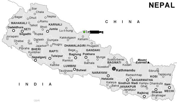 Lo Manthang, Nepal map